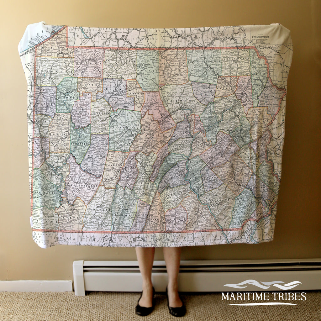 Pennsylvania State Map Blanket