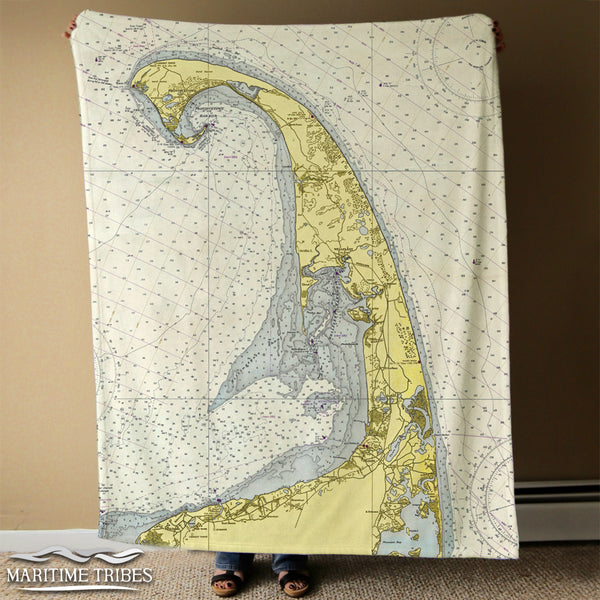 Cape Cod - Provincetown to Monomoy Islands Vintage Chart Blanket
