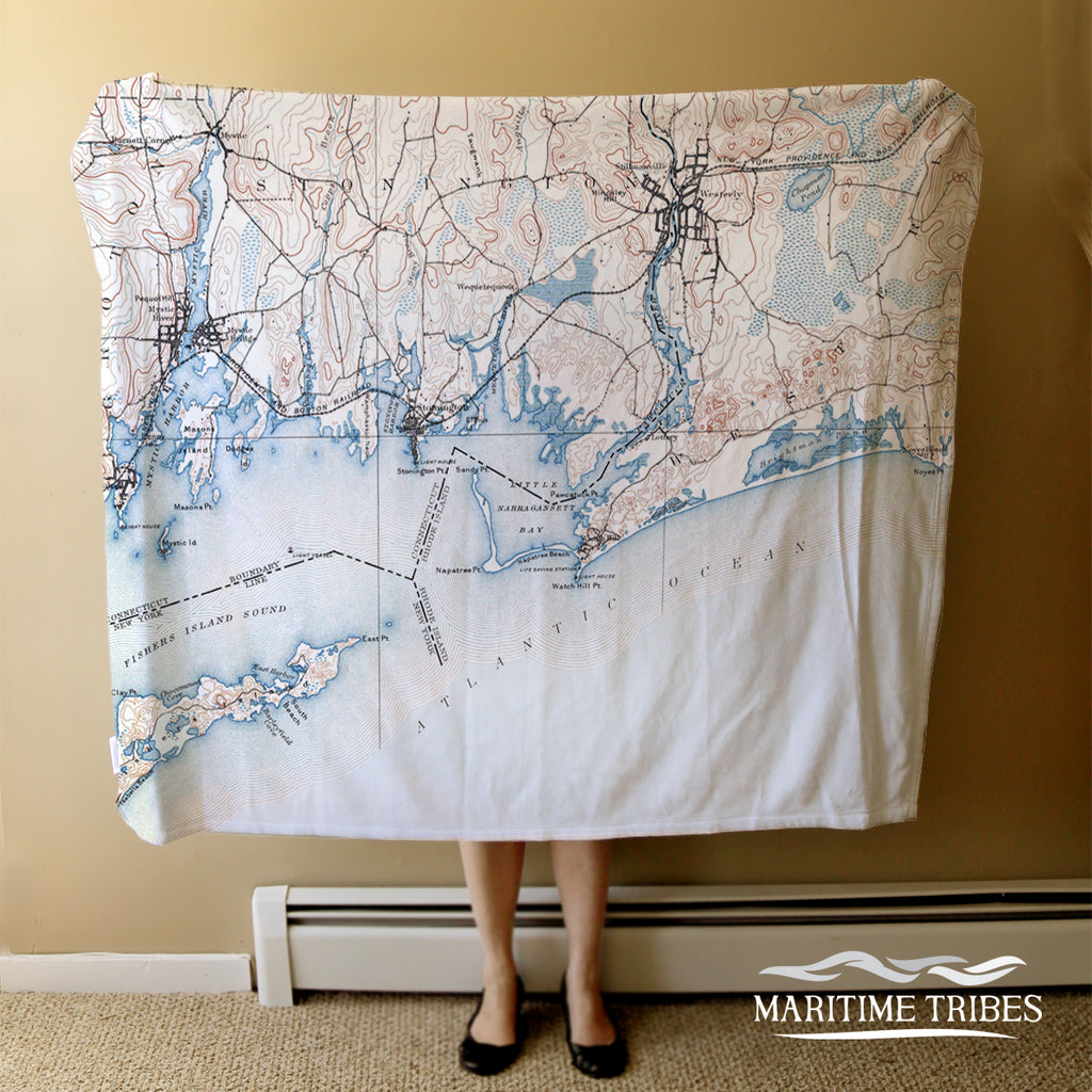 Westerly, RI Vintage Topo Map Blanket