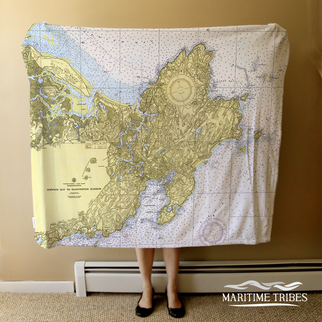 Gloucester - Cape Ann Vintage Nautical Chart Blanket