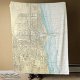 Kenosha Harbor Vintage Nautical Chart, c.1921 Blanket
