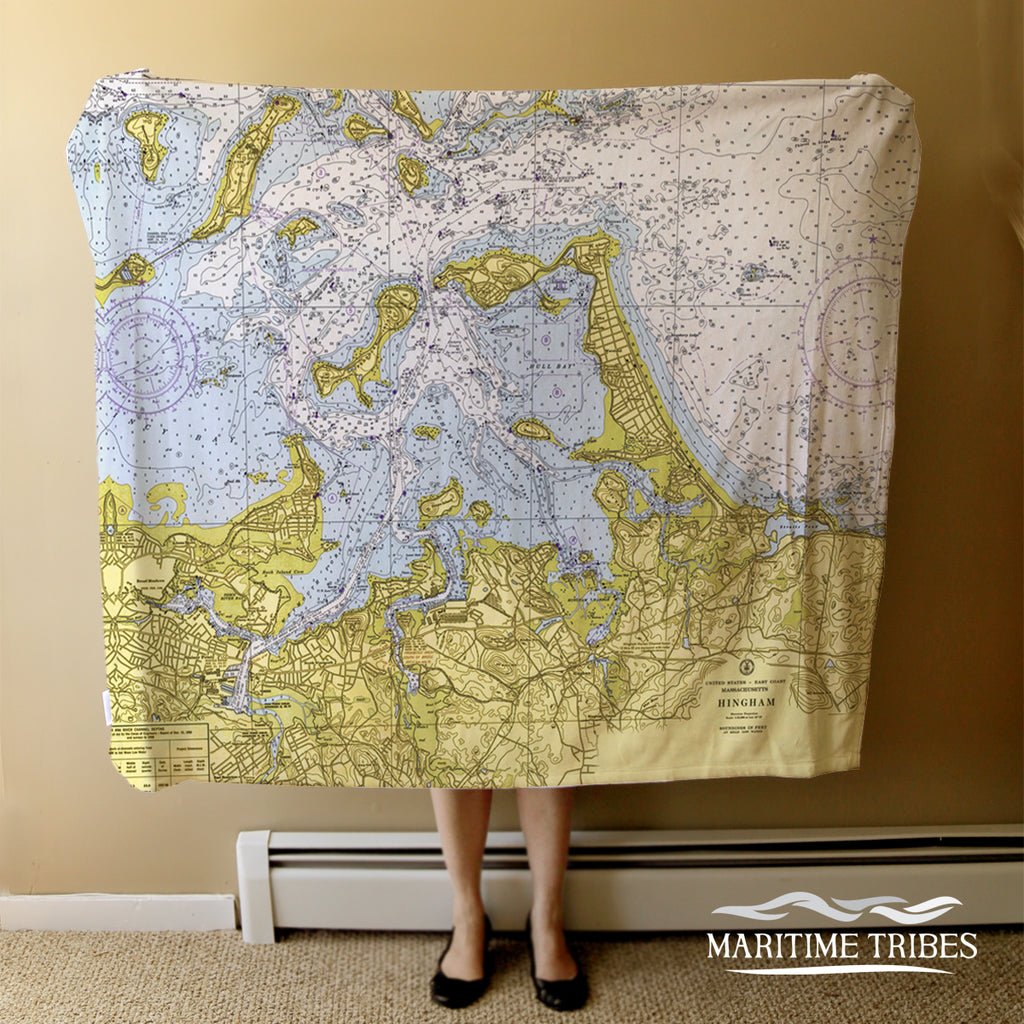 Hingham Harbor, Hull Vintage Nautical Chart Blanket