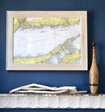 Long Island Sound, Eastern Part, CT Nautical Chart Framed Map