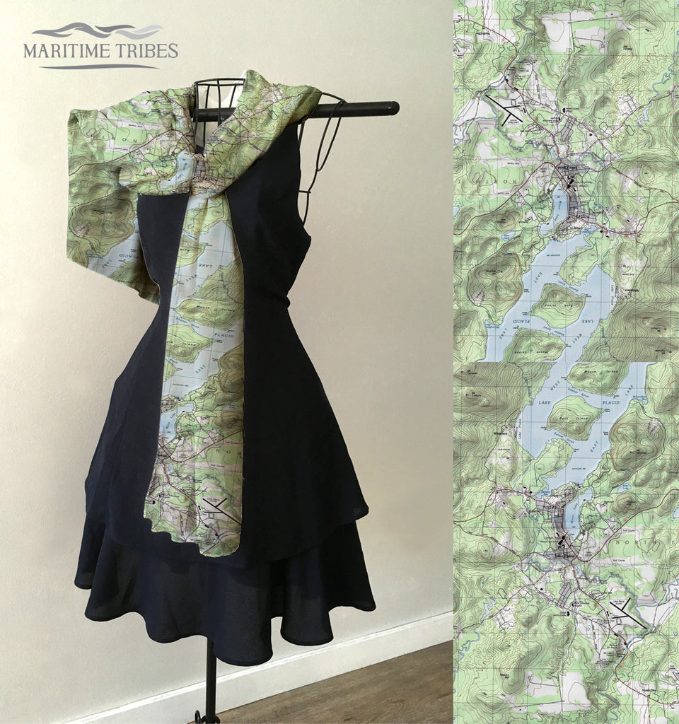 Lake Placid, NY Topo Map Scarf