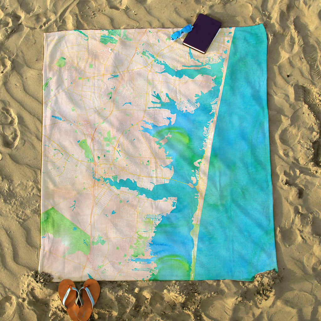 Lavallette, NJ Watercolor Map Blanket