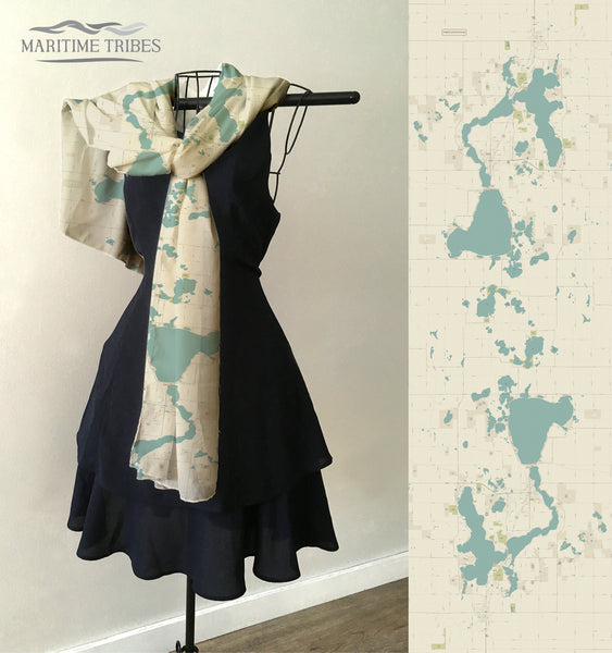 Iowa Great Lakes Sea Glass/Vintage Mod Map Scarf