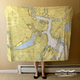 Boston Inner Harbor Nautical Chart Blanket