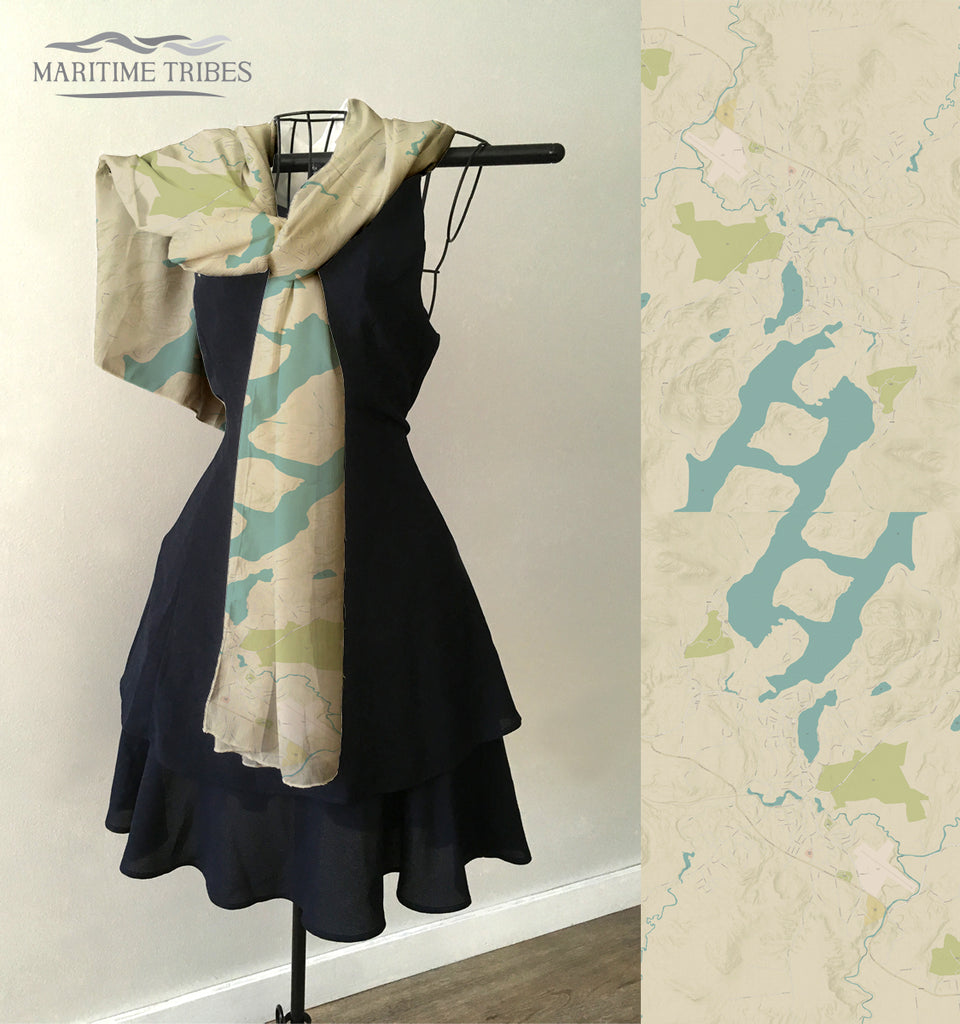 Lake Placid, NY Sea Glass Map Scarf