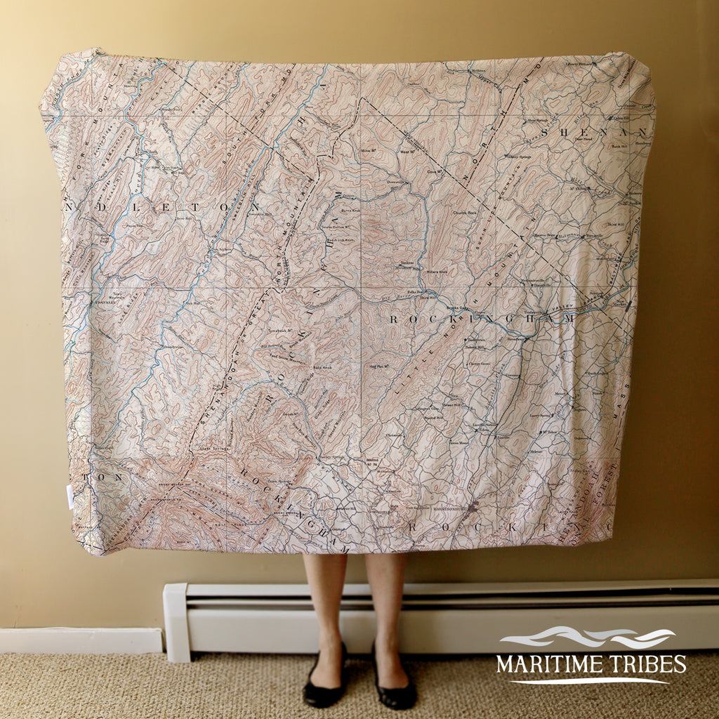 Fulks Run Antique Style Map Blanket