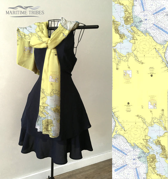San Francisco to Point Arena, CA Vintage Nautical Chart Scarf