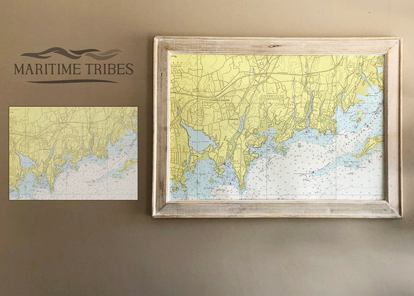 Darien , CT Nautical Chart Framed Map