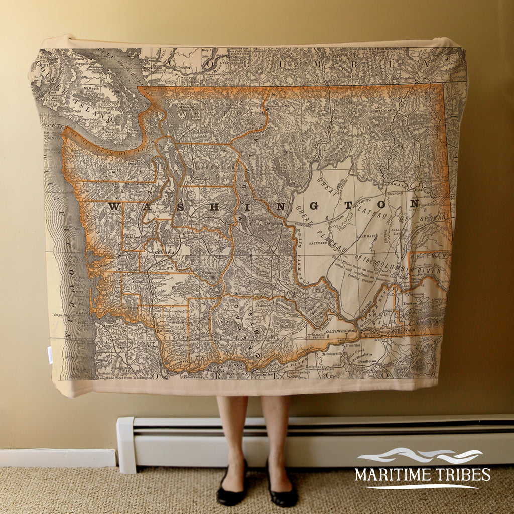 Washington State Vintage Map Blanket