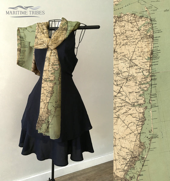 New Jersey Coast (Jersey Shore) Antique Map Scarf