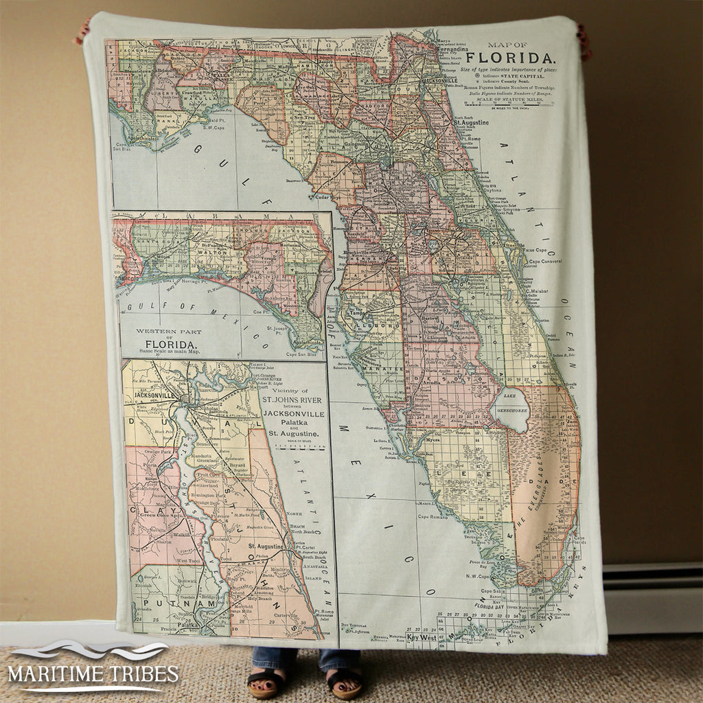 Florida VIntage State Map Blanket