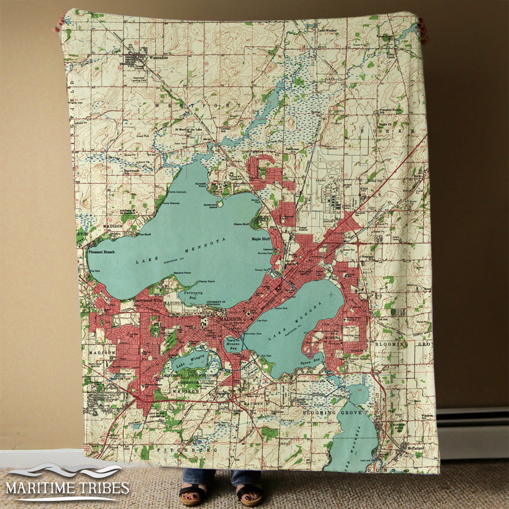 Madison, Wisconsin Topo Map Blanket