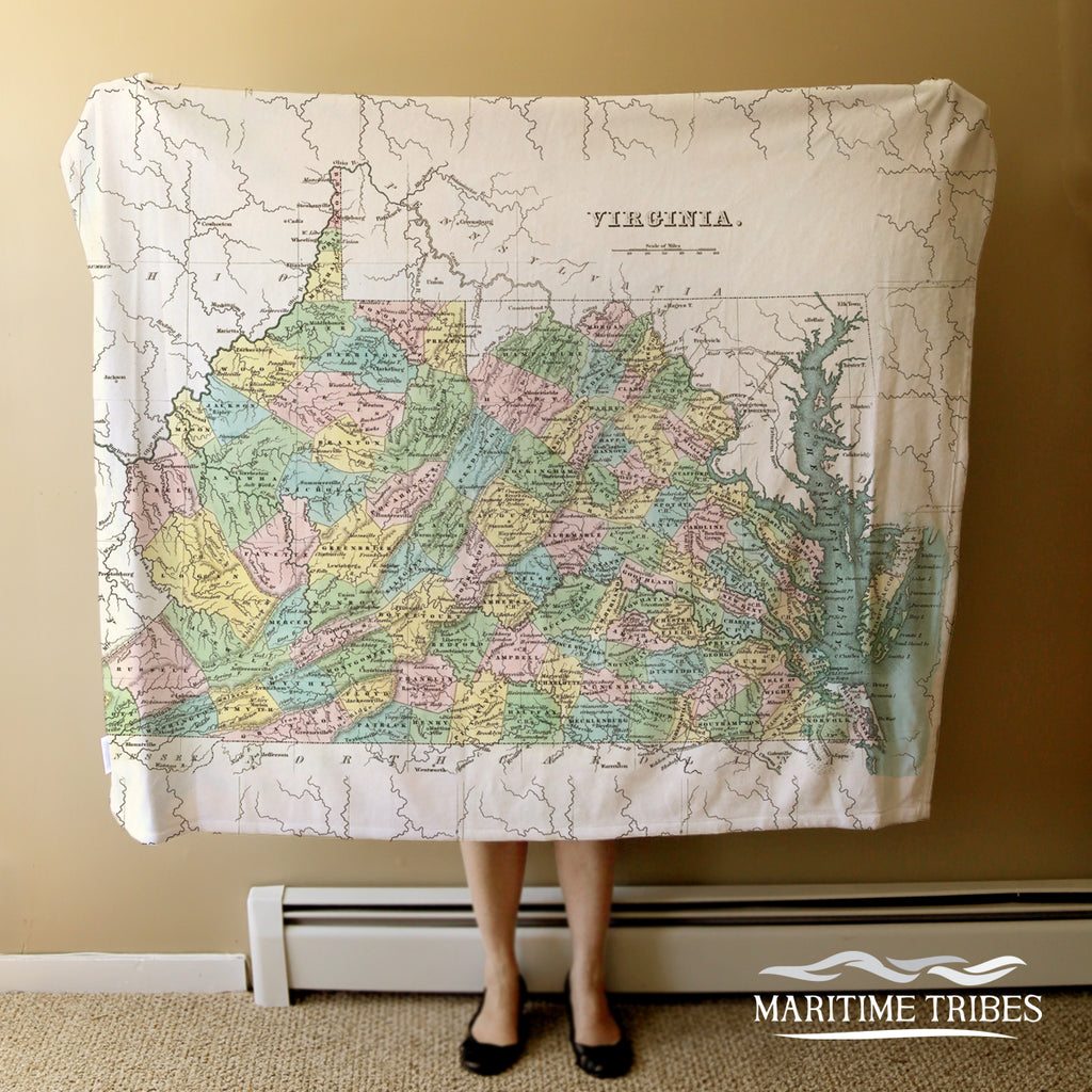 Virginia Vintage State Map Blanket