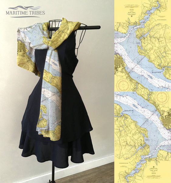 Suffolk, VA / Tide Water Nautical Chart  Scarf