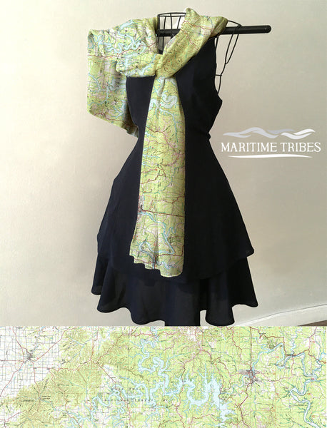 Table Rock Lake, Lake Taneycomo, MO Vintage Map Scarf
