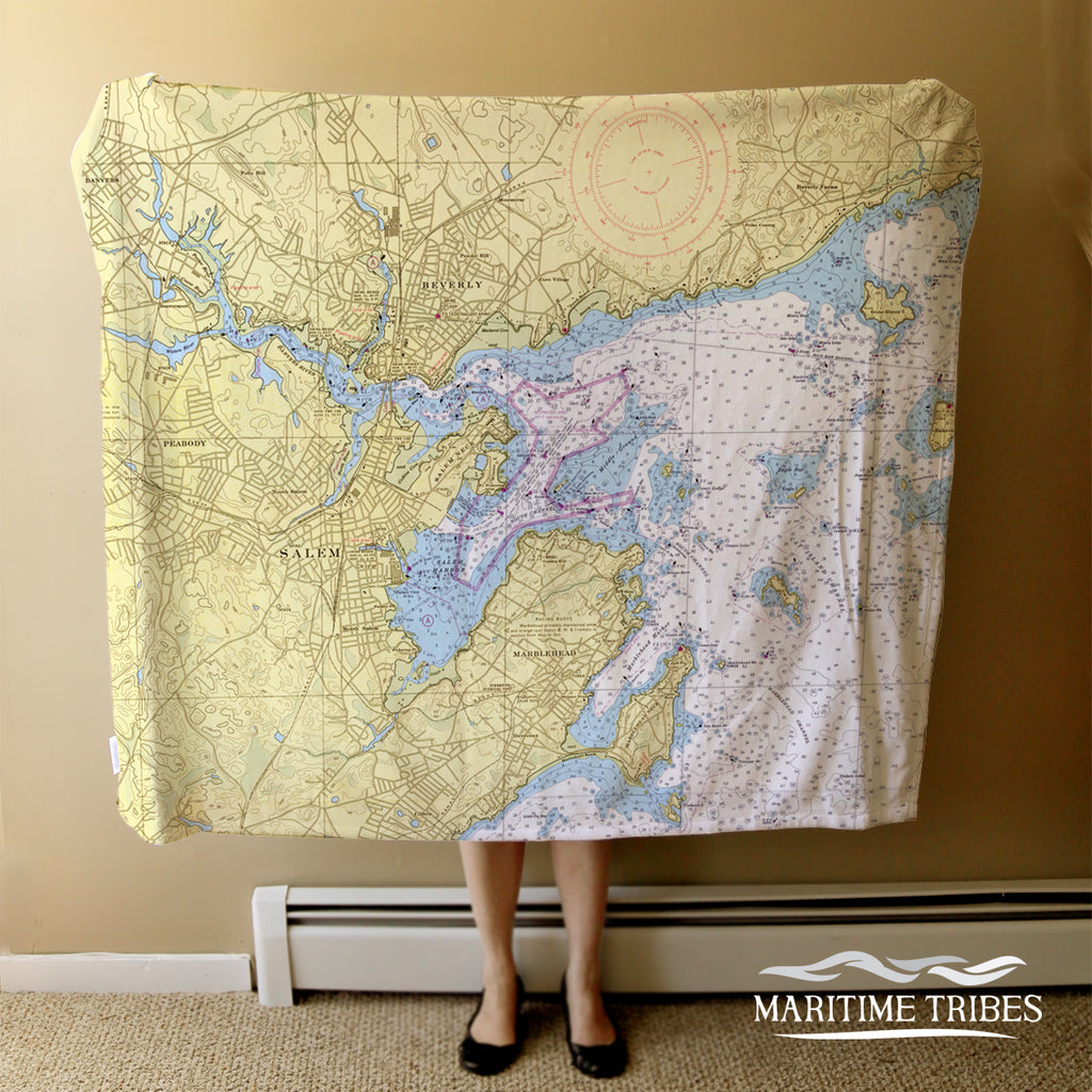 Salem Nautical Chart Blanket