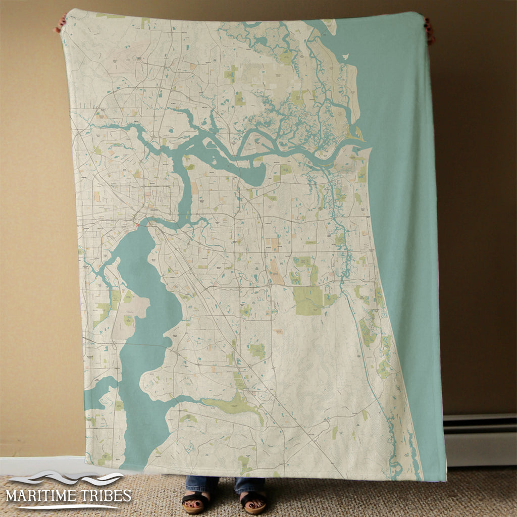 Jacksonville Area Seaglass Map Blanket
