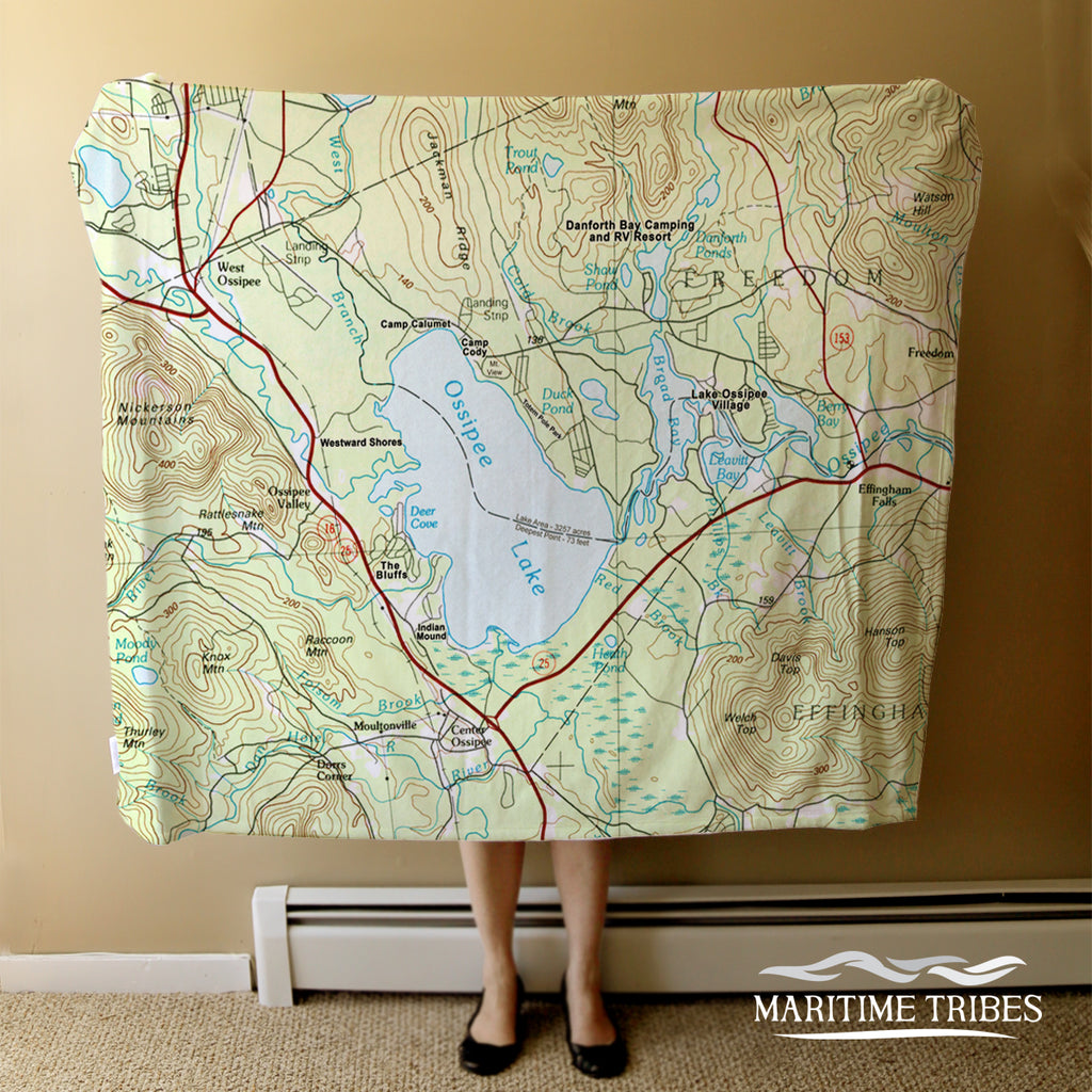 Ossipee Lake, NH Topo Map Blanket