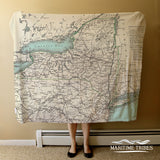 New York State Vintage Map Blanket