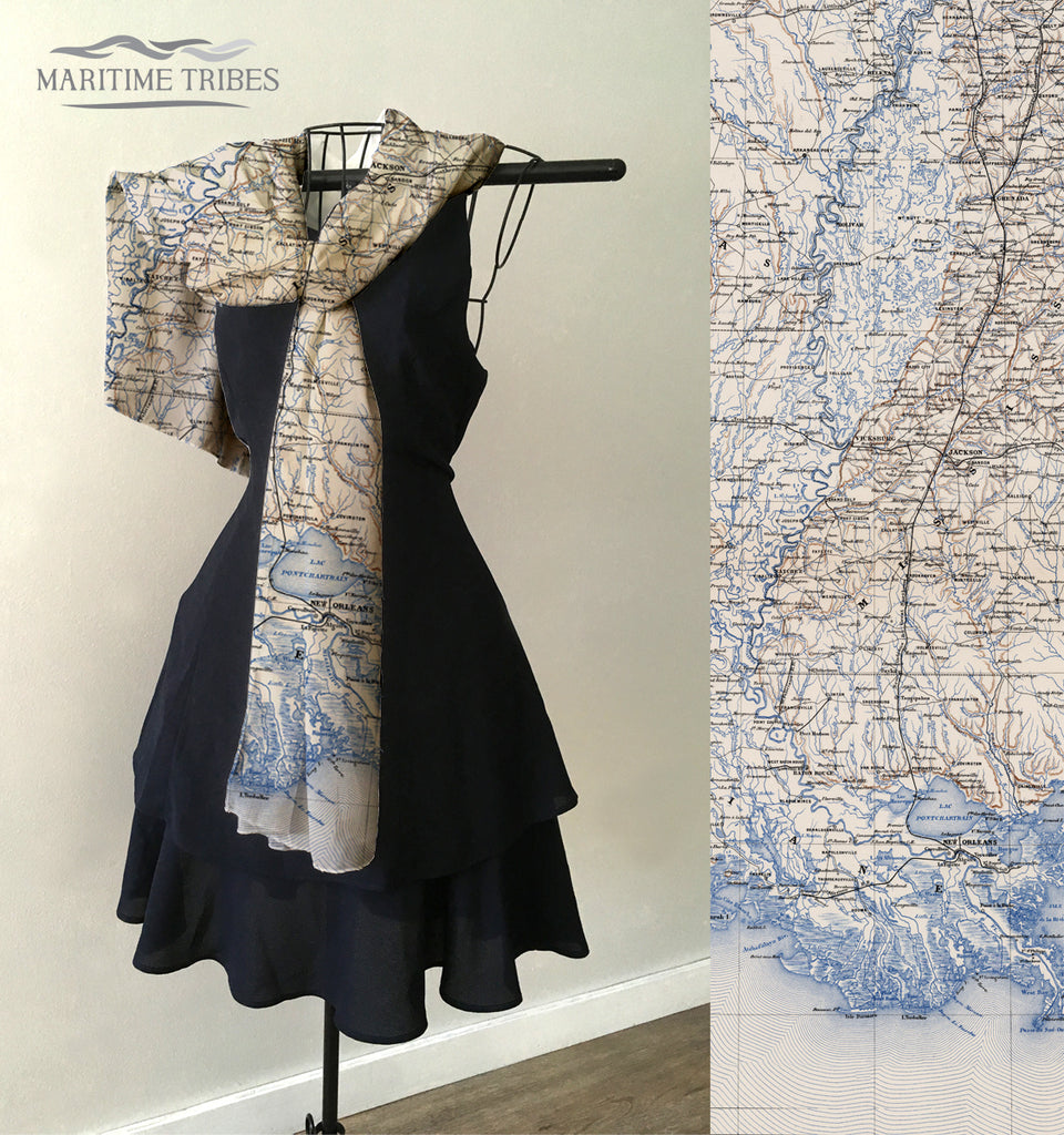 Baton Rouge,  New Orleans, LA Antique Map Scarf
