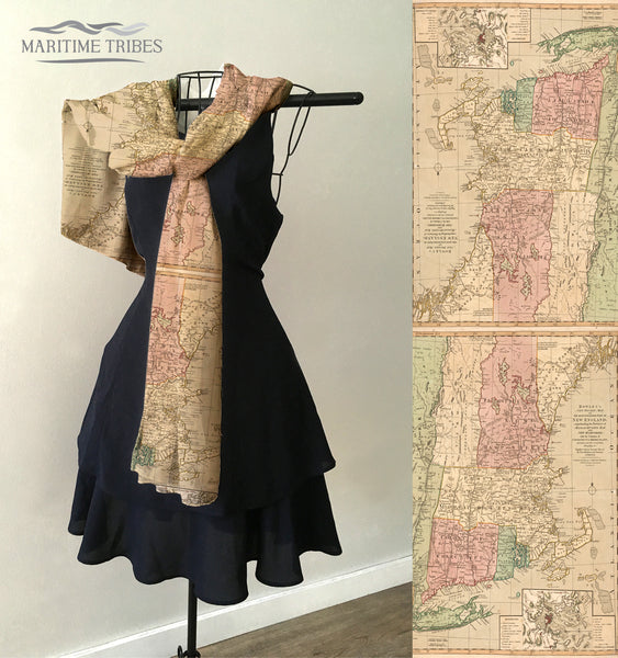New England Vintage Map Scarf