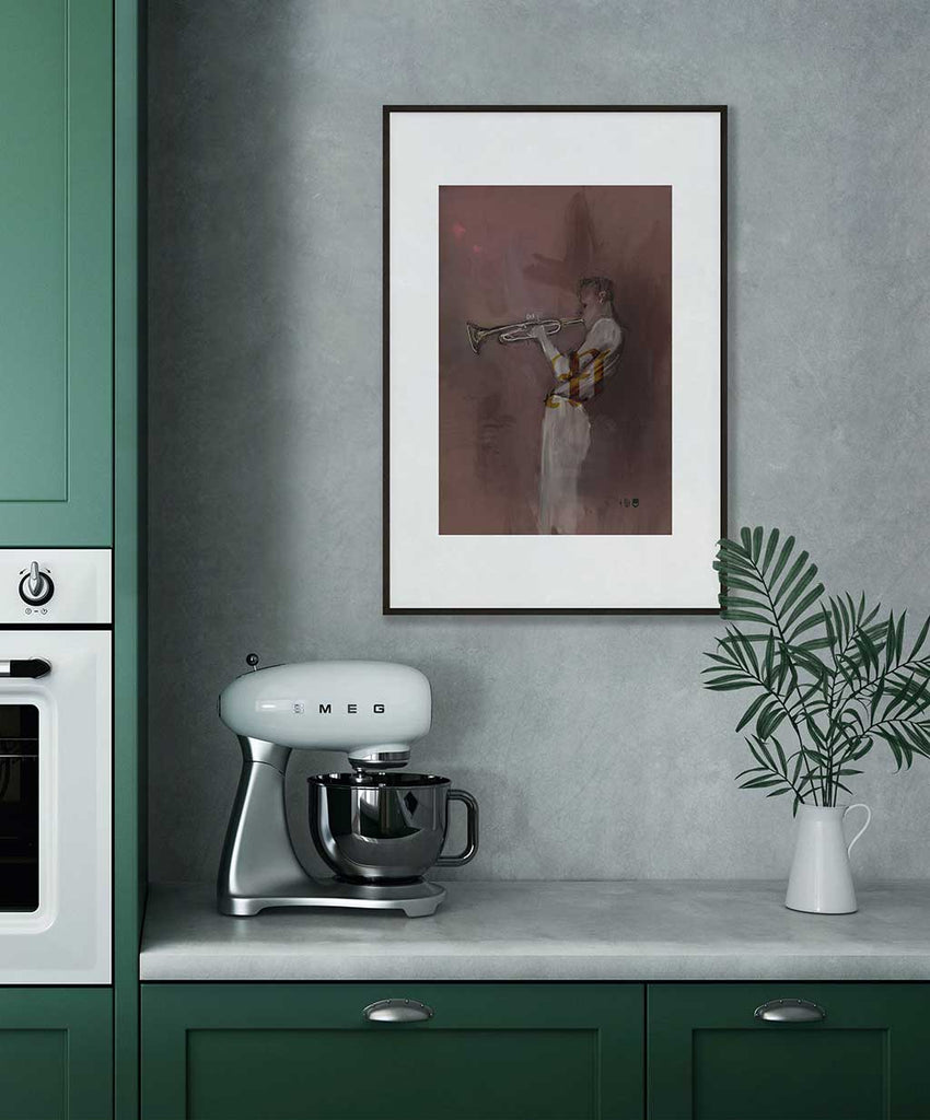 Jazz In The AM Open Edition Print framed and hung