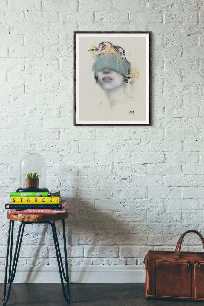 Blindfold Open Edition Print framed and hung