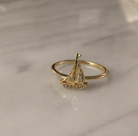 Ring: Gold Sailboat