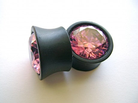 22 mm Ebony with 20 mm pink cz