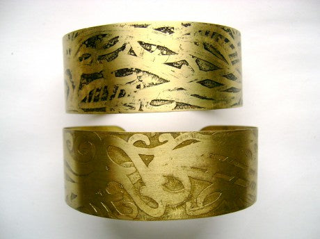 acid etched brass bracelets