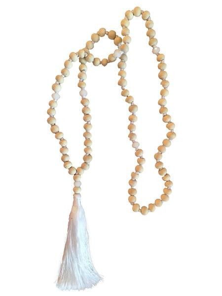 Wooden Bead Tassel Necklace - White