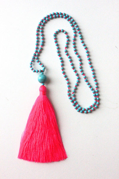 Turquoise & Pink Tassel Necklace