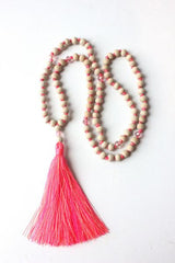 Wooden Bead Tassel Necklace - Pink