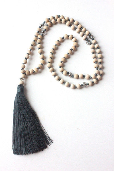 Wooden Bead Tassel Necklace - Gray