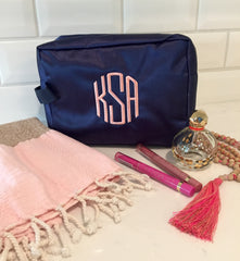 Large Navy Makeup Bag