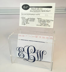 acrylic recipe box with monogram