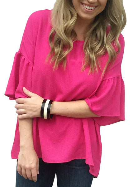 Fuchsia Bell Sleeve Top