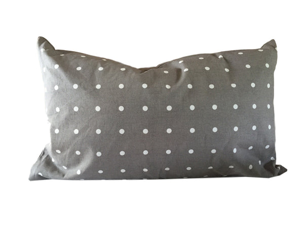 Polka Dot Lumbar Pillow Gray