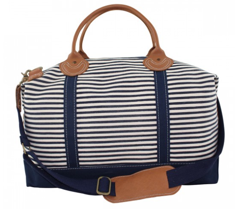 Striped Canvas Duffle Bag - Navy
