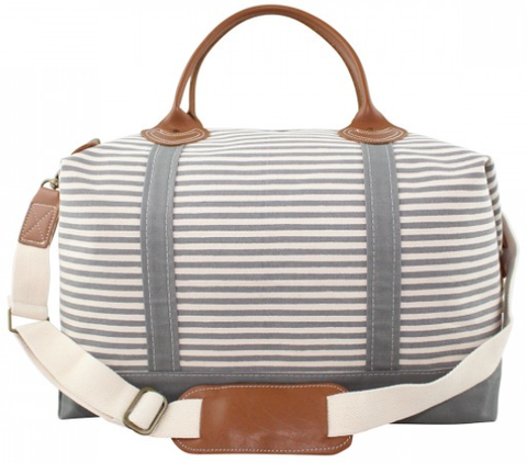 Striped Canvas Duffle Bag - Gray