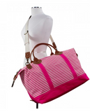 Striped Canvas Duffle Bag - Pink
