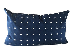 Polka Dot Lumbar Pillow Navy