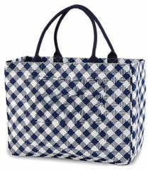 Navy Gingham Tote