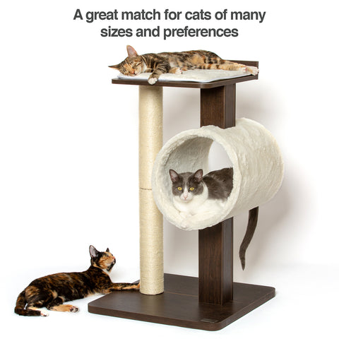 PetFusion Modern Cat Activity Tree & Scratching Post. [Furniture Grade MDF; Catnip Spray] - PetFusion