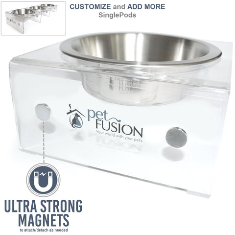 PetFusion Raised SinglePod Magnetic Pet Feeder [ATTACHABLE/ DETACHABLE] - PetFusion