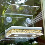 Petfusion Tranquility Window Bird Feeder in PREMIUM LUCITE ACRYLIC. [Removable Tray, 3 Perches] - PetFusion