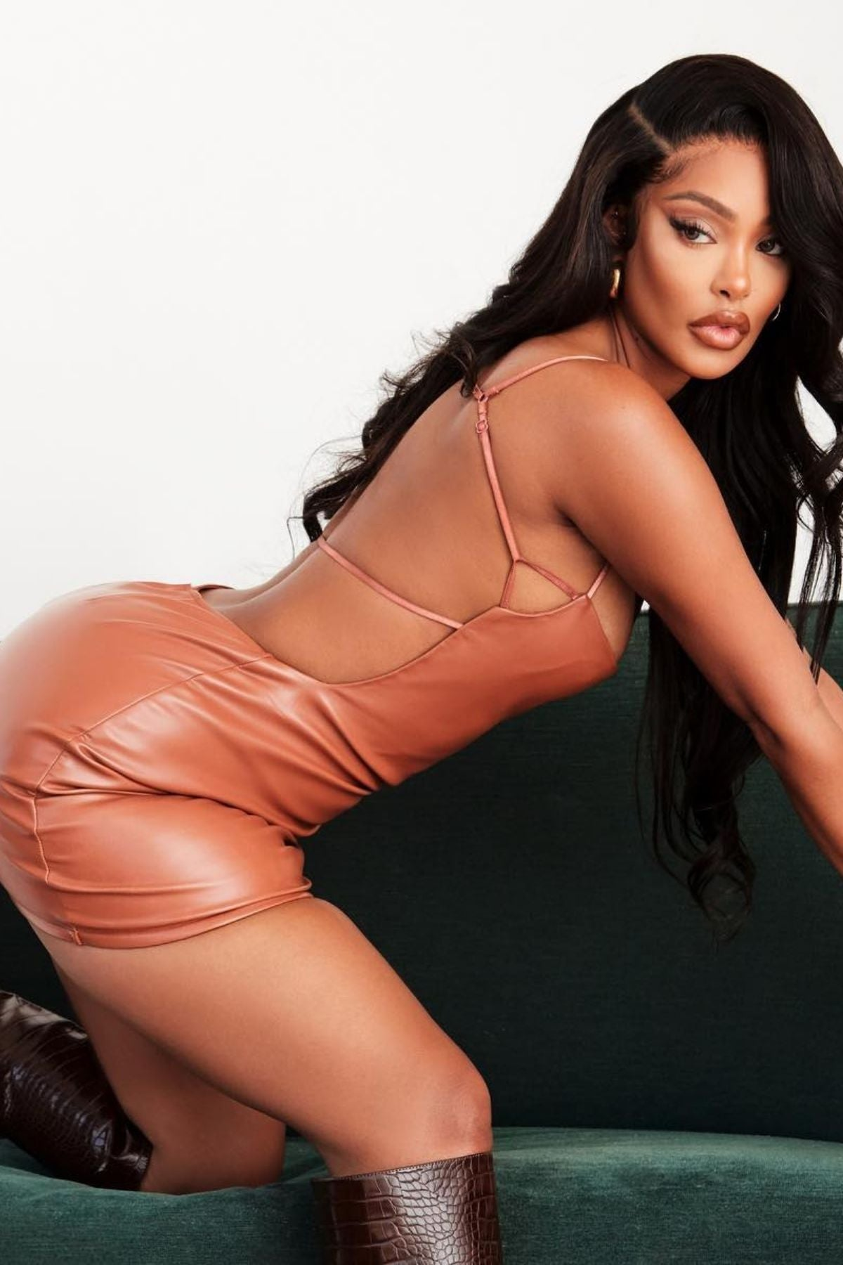 Women's Faux Leather With No Back Short Dress